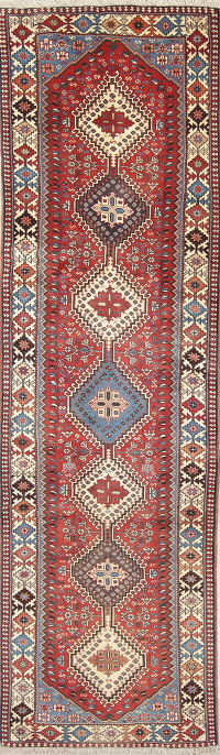 Geometric Tribal Yalameh Persian Hand-Knotted Runner Rug 3x10