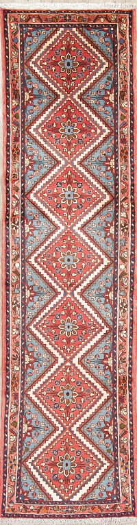 Geometric Red Hamedan Persian Hand-Knotted Runner Rug Wool 3x9