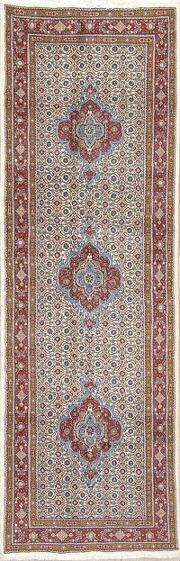 Geometric Mood Persian Hand-Knotted Runner Rug Wool 3x8