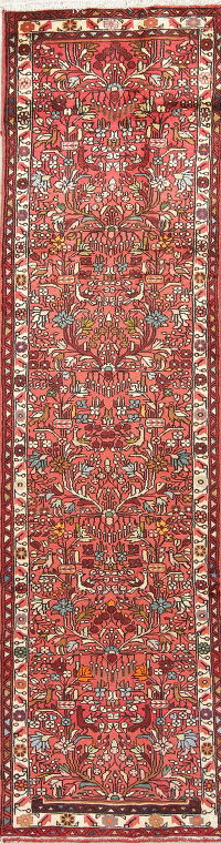 Floral Pink Hamedan Persian Hand-Knotted Runner Rug Wool 3x10
