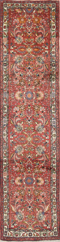 Floral Lilian Hamedan Persian Hand-Knotted Runner Rug 3x11