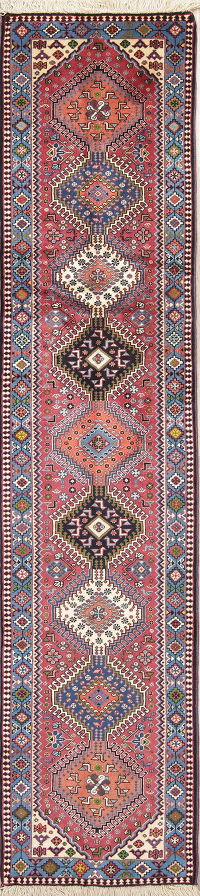 Geometric Tribal Yalameh Persian Hand-Knotted Runner Rug Wool 2x10