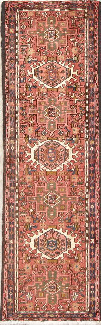 Geometric Rust Gharajeh Persian Hand-Knotted Runner Rug Wool 2x6
