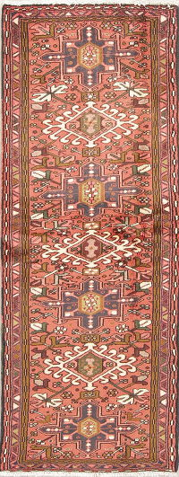 Geometric Coral Gharajeh Persian Hand-Knotted Runner Rug Wool 2x6