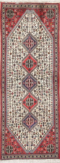 Tribal Abadeh Persian Hand-Knotted Runner Rug Wool 2x7