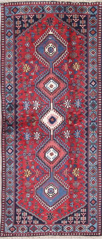 Red Geometric Yalameh Persian Hand-Knotted Runner Rug Wool 3x6