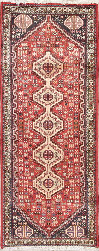 Geometric Tribal Abadeh Persian Hand-Knotted 2x6 Runner Rug Wool