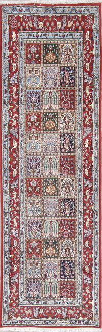 Animal Pictorial Floral Mood Persian Hand-Knotted Runner Rug Wool 3x8