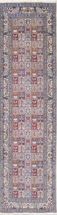 Wool/Silk Floral Mood Persian Hand-Knotted Runner Rug 3x10
