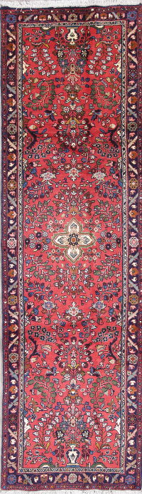 Floral Red Lilian Hamedan Persian Hand-Knotted Runner Rug Wool 3x9
