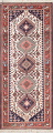 Geometric Tribal Ivory Yalameh Persian Hand-knotted Runner Rug Wool 3x7 image 1