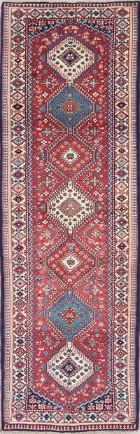 Geometric Red Yalameh Persian Hand-Knotted Runner Rug 3x9