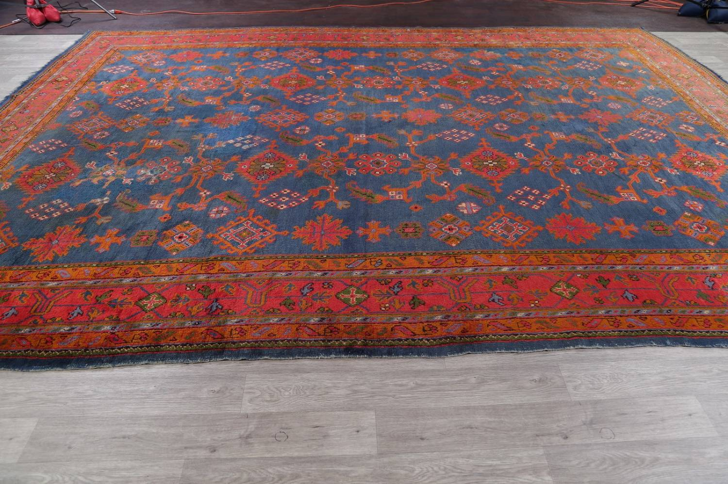 Antique Vegetable Dye Oushak Turkish Hand-Knotted Area Rug Wool 11x16 image 18