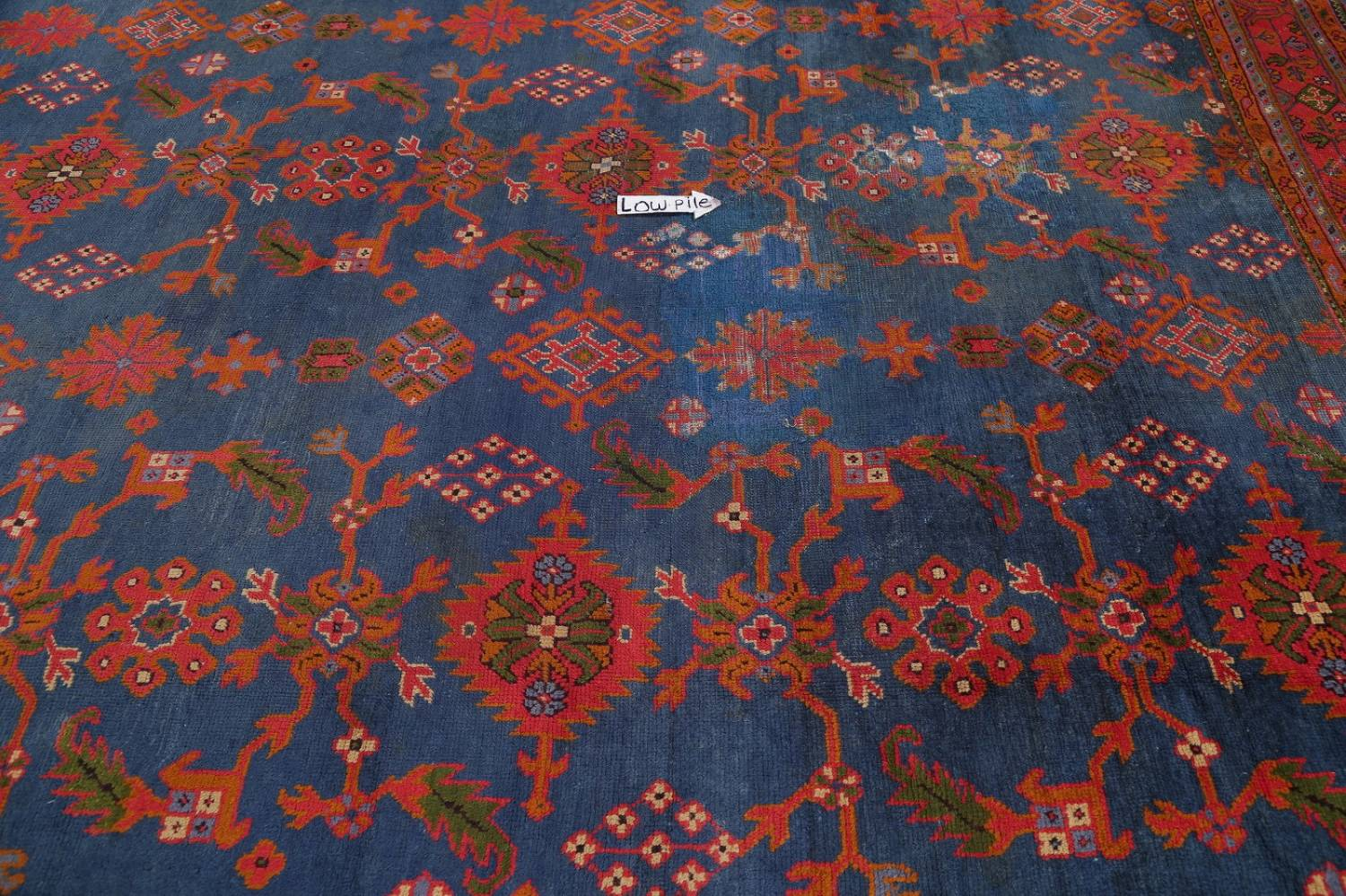 Antique Vegetable Dye Oushak Turkish Hand-Knotted Area Rug Wool 11x16 image 8