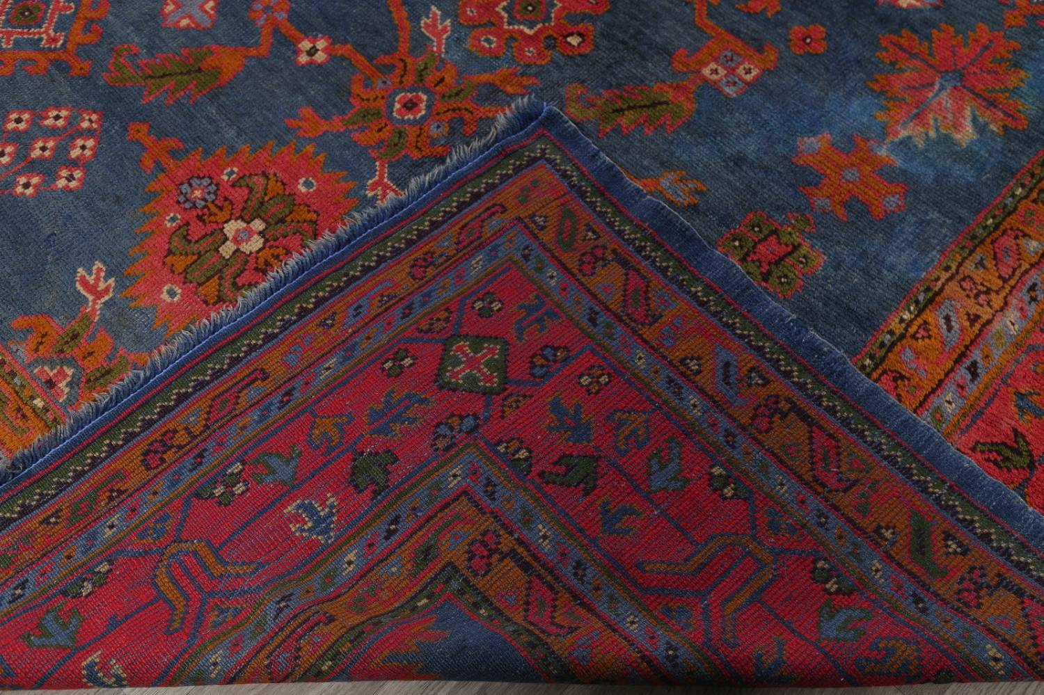Antique Vegetable Dye Oushak Turkish Hand-Knotted Area Rug Wool 11x16 image 24