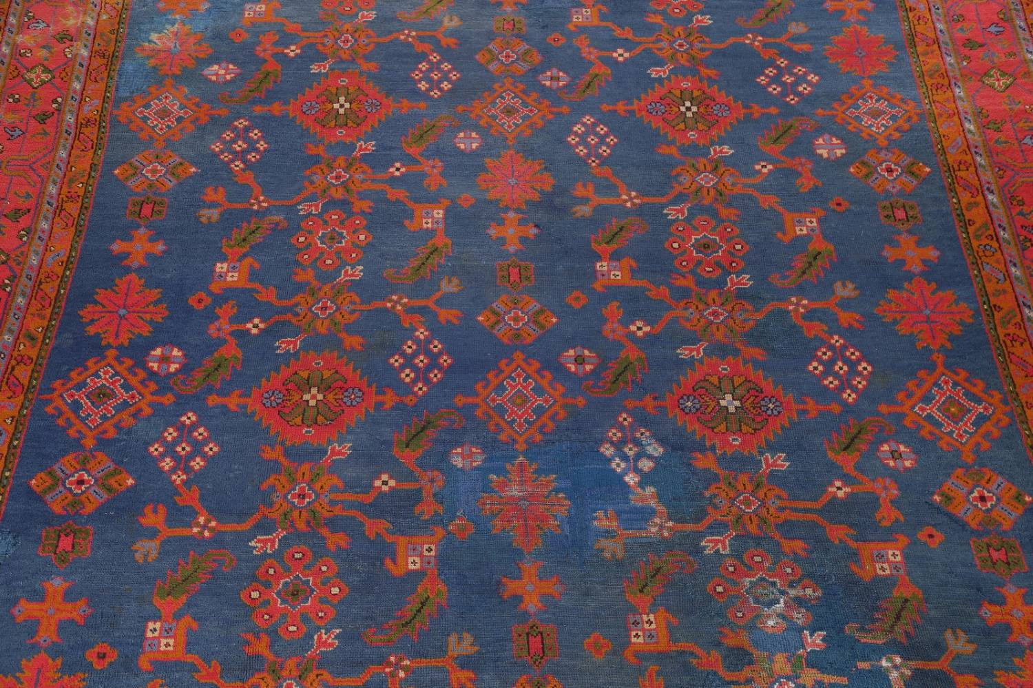 Antique Vegetable Dye Oushak Turkish Hand-Knotted Area Rug Wool 11x16 image 4