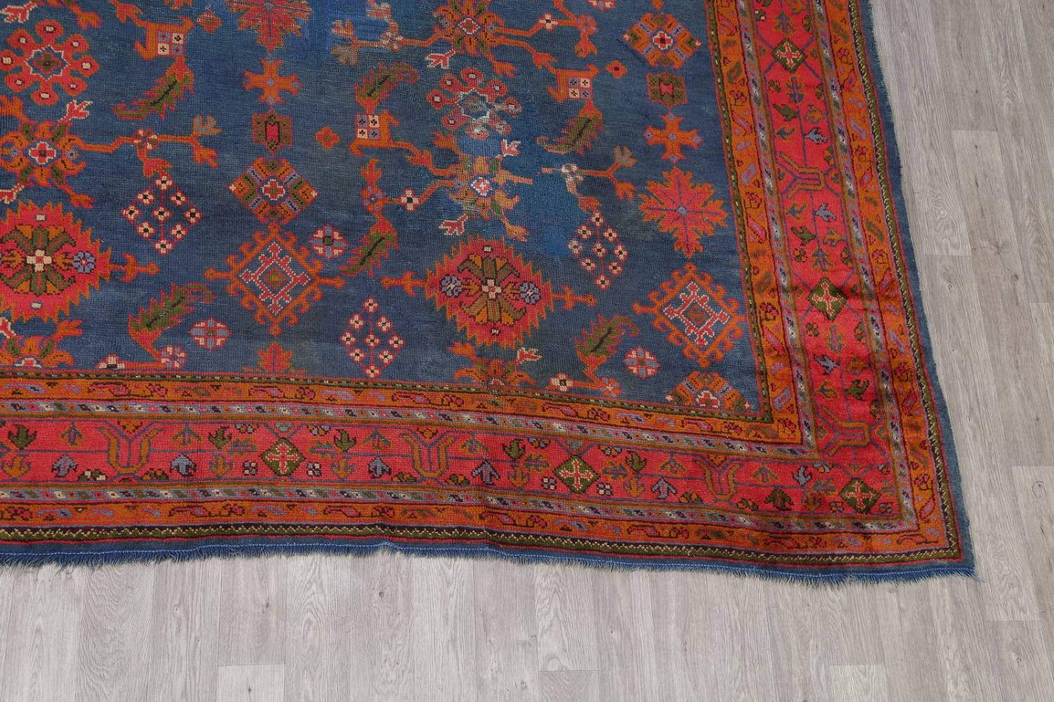 Antique Vegetable Dye Oushak Turkish Hand-Knotted Area Rug Wool 11x16 image 6