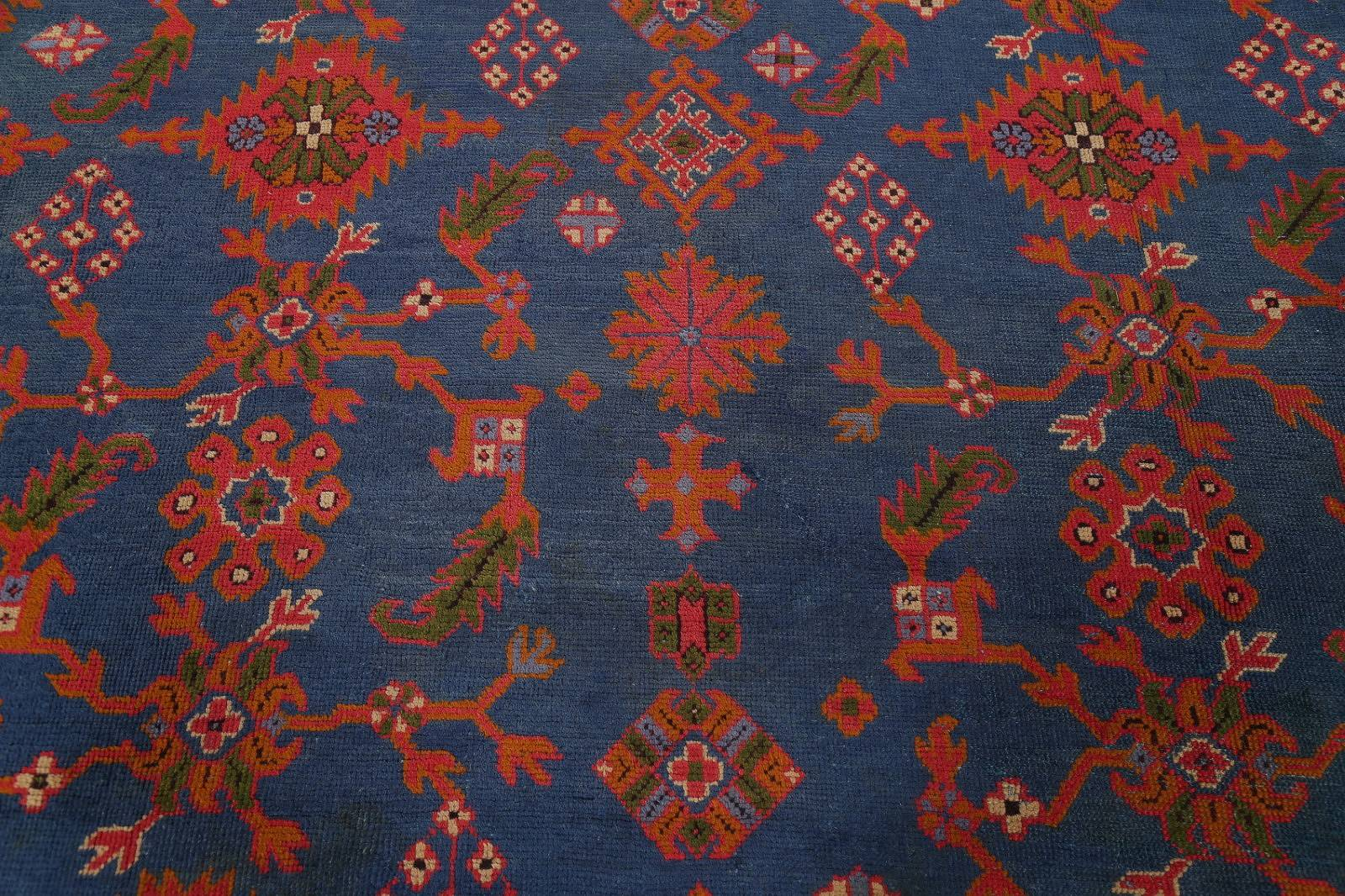 Antique Vegetable Dye Oushak Turkish Hand-Knotted Area Rug Wool 11x16