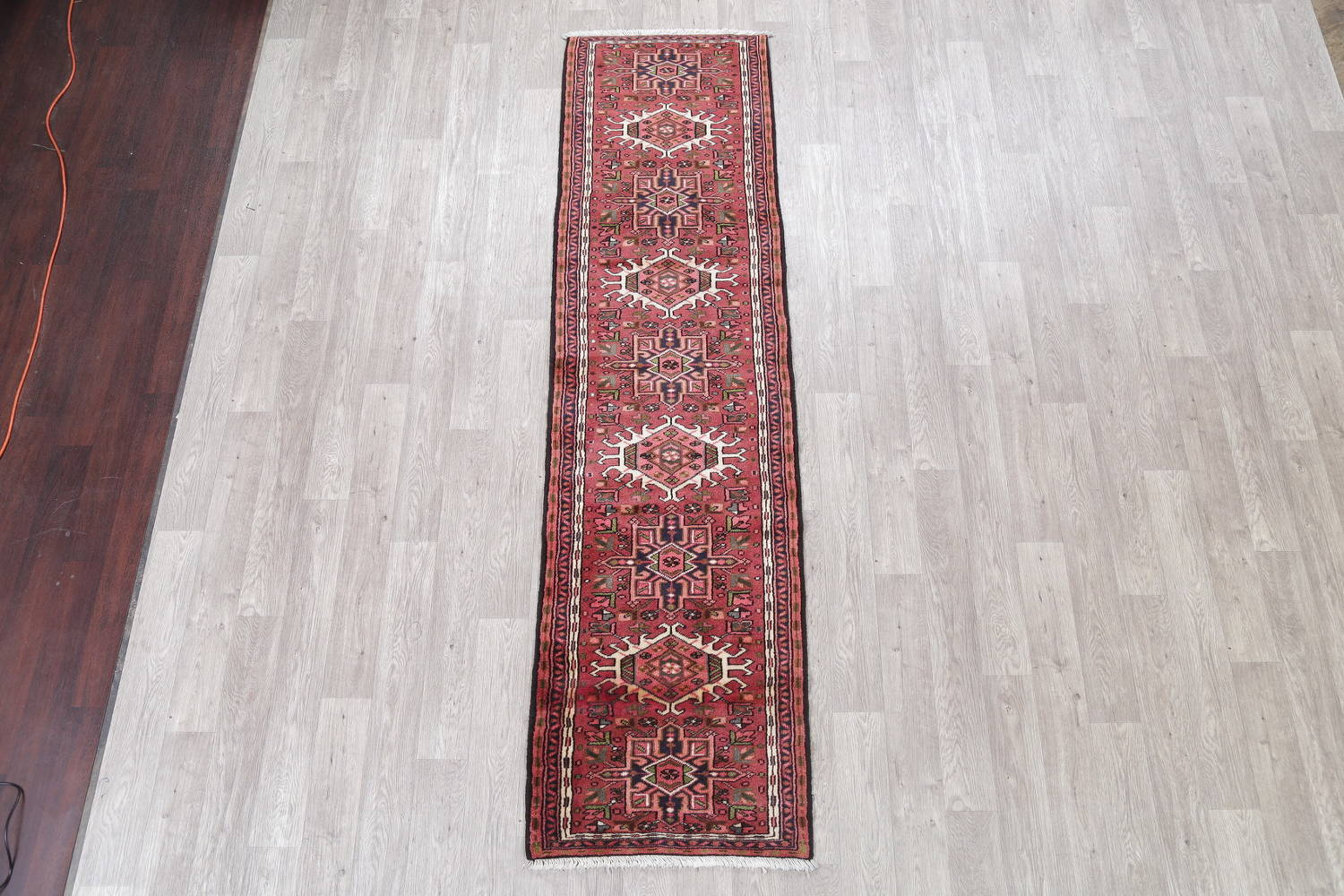 Geometric Red Gharajeh Persian Hand-Knotted Runner Rug Wool 3x10 image 2