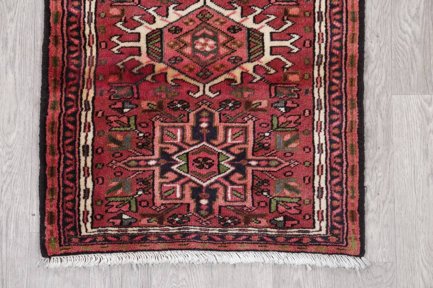Geometric Red Gharajeh Persian Hand-Knotted Runner Rug Wool 3x10 image 5