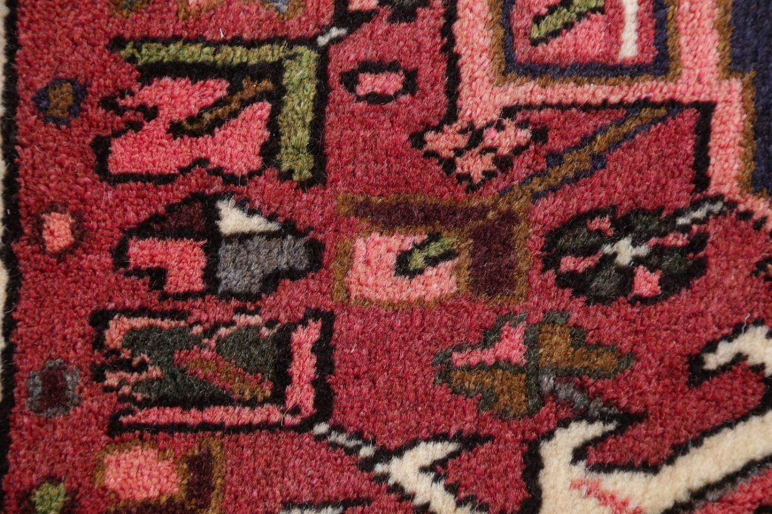 Geometric Red Gharajeh Persian Hand-Knotted Runner Rug Wool 3x10 image 7