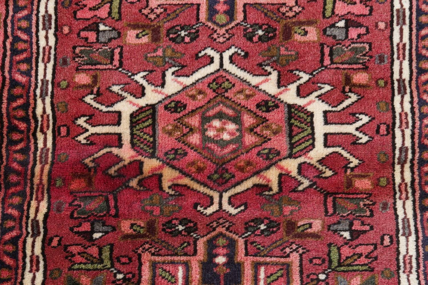 Geometric Red Gharajeh Persian Hand-Knotted Runner Rug Wool 3x10 image 8