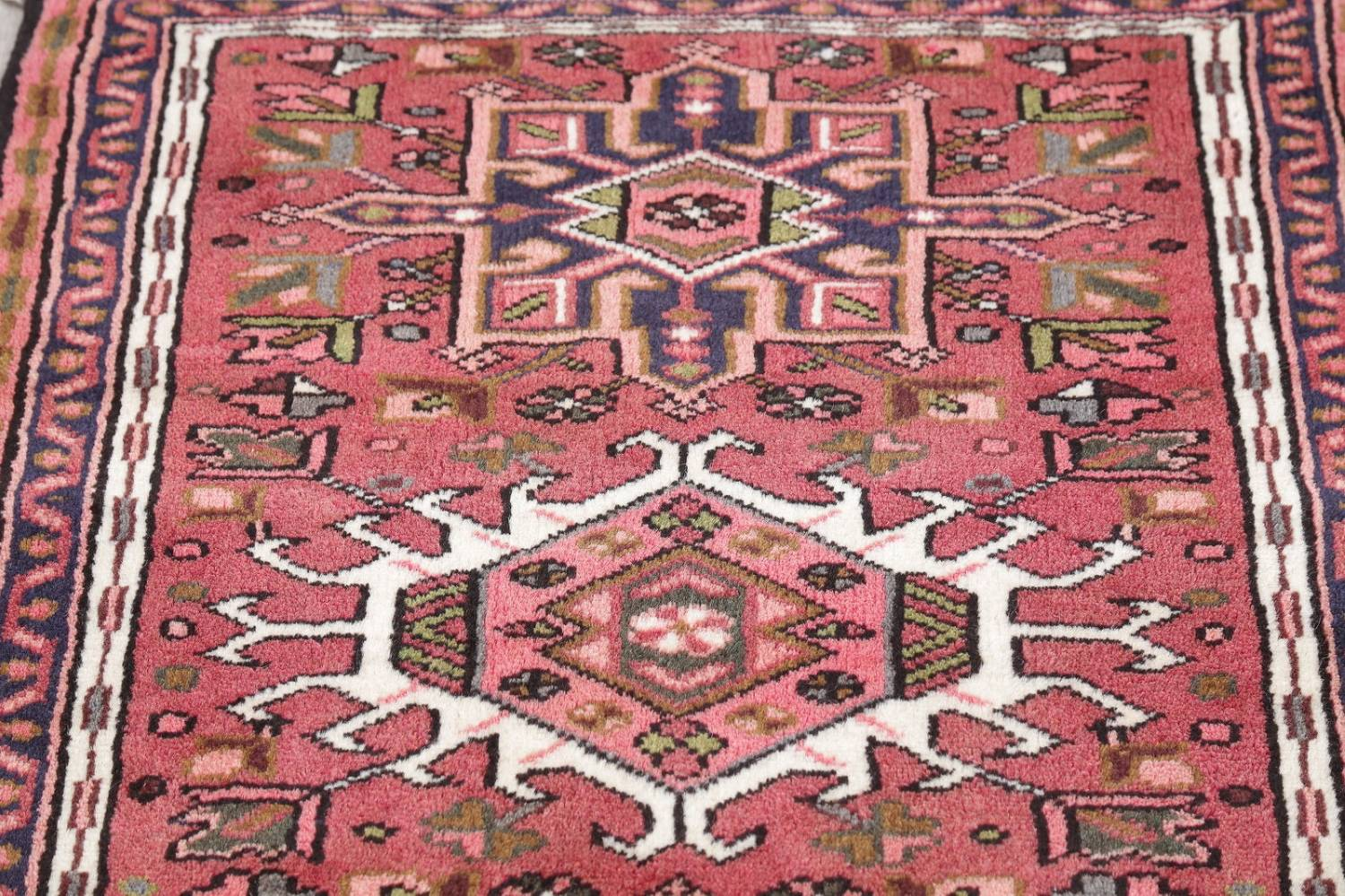 Geometric Red Gharajeh Persian Hand-Knotted Runner Rug Wool 3x10 image 12
