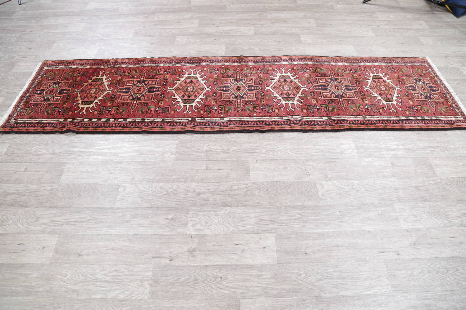 Geometric Red Gharajeh Persian Hand-Knotted Runner Rug Wool 3x10 image 15