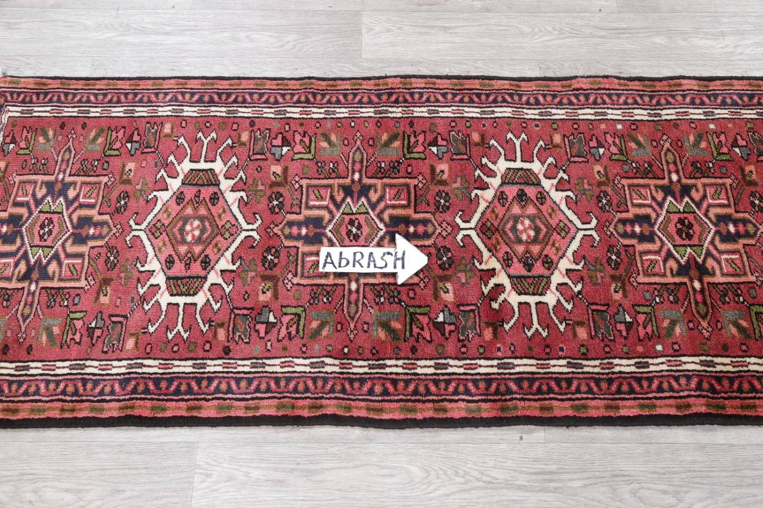 Geometric Red Gharajeh Persian Hand-Knotted Runner Rug Wool 3x10 image 11