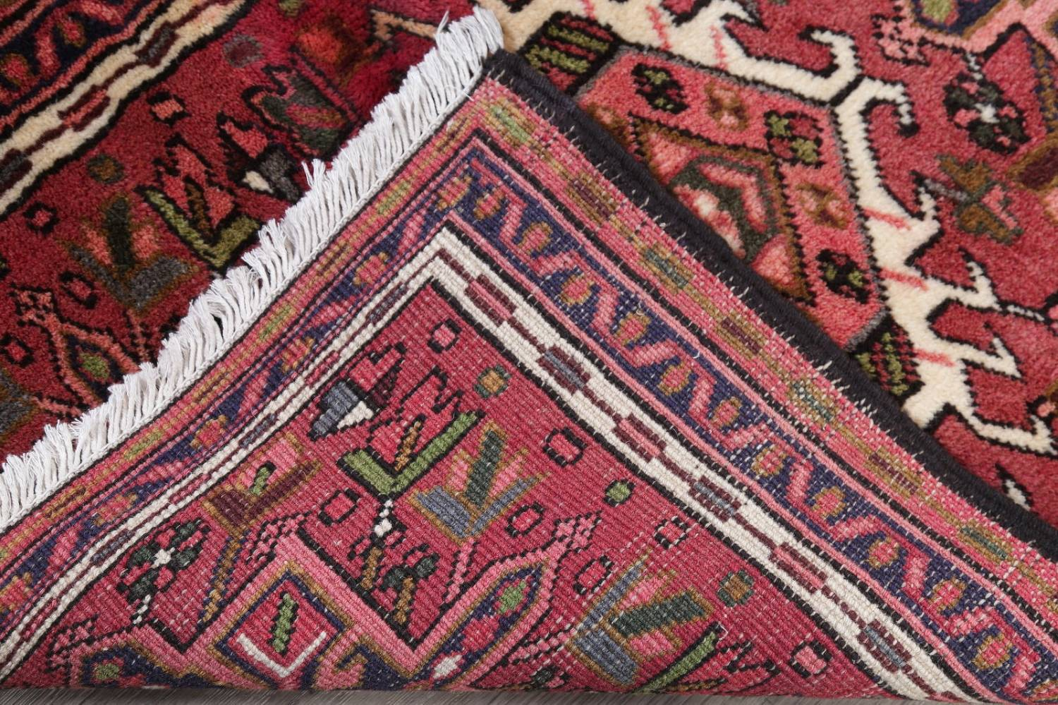 Geometric Red Gharajeh Persian Hand-Knotted Runner Rug Wool 3x10 image 19