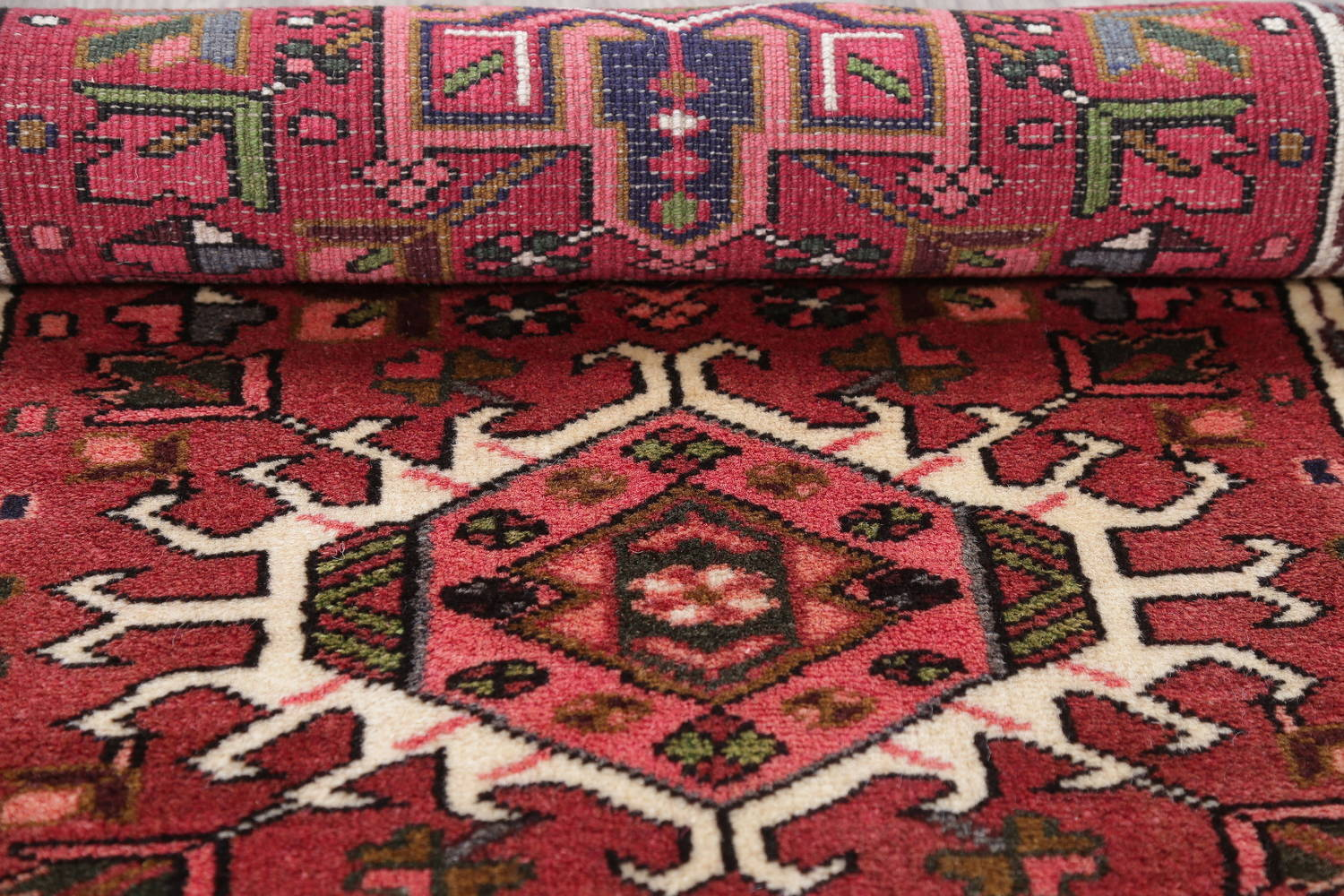 Geometric Red Gharajeh Persian Hand-Knotted Runner Rug Wool 3x10 image 17