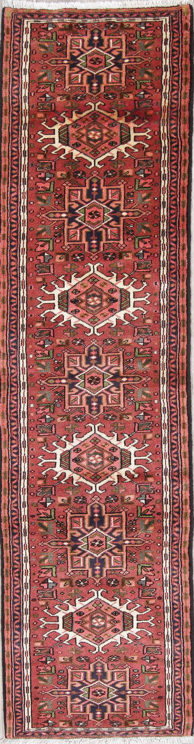 Geometric Red Gharajeh Persian Hand-Knotted Runner Rug Wool 3x10 image 1
