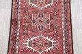 Geometric Red Gharajeh Persian Hand-Knotted Runner Rug Wool 3x10 image 4