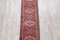 Geometric Red Gharajeh Persian Hand-Knotted Runner Rug Wool 3x10 image 3