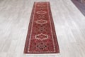 Geometric Red Gharajeh Persian Hand-Knotted Runner Rug Wool 3x10 image 14