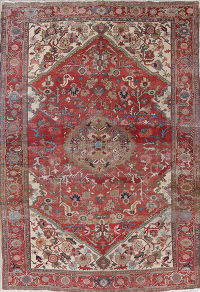 Geometric Red Antique Heriz Serapi Persian Handmade Area Rug 8x11