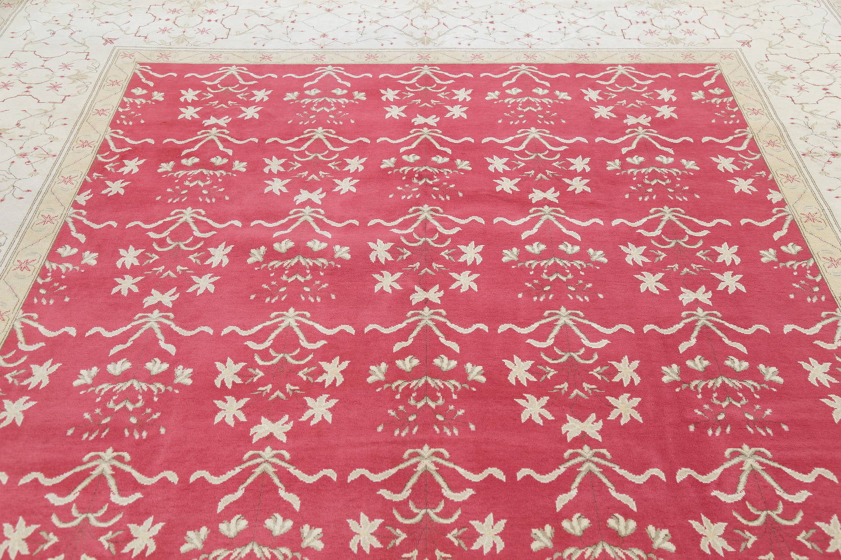 Floral Red Oushak Oriental Hand-Knotted Area Rug Wool 10x14