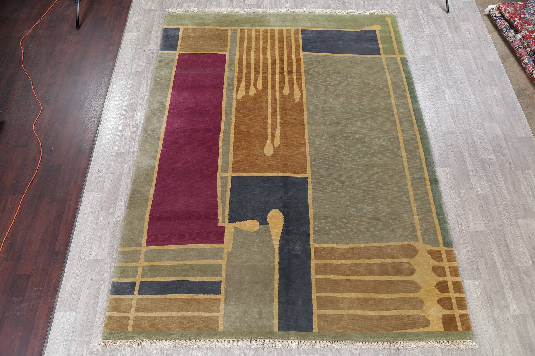 Modern Nepal Indian Oriental Hand-Knotted Area Rug Wool 9x12