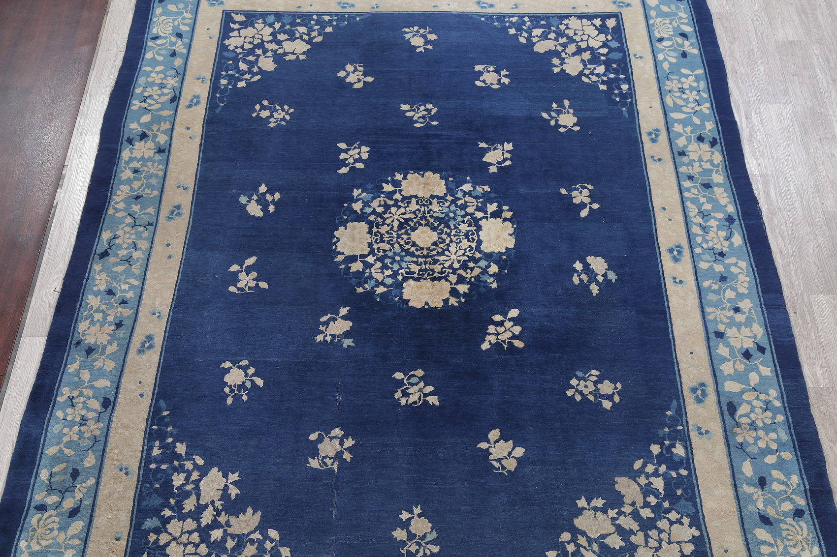 Antique Blue Peking Chinese Oriental Hand-Knotted Area Rug Wool 9x12