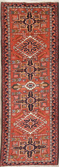 Geometric Rust Gharajeh Persian Hand-Knotted Runner Rug Wool 2x7