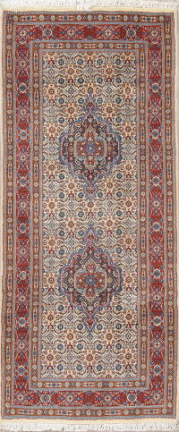 Geometric Bidjar Persian Hand-Knotted Runner Rug Wool 3x6