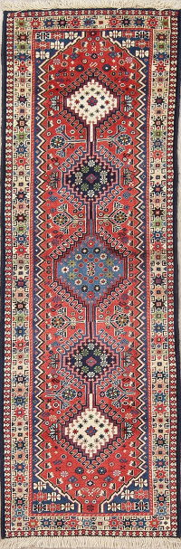 Geometric Tribal Yalameh Persian Hand-Knotted 2x6 Wool Runner Rug