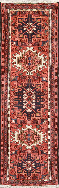 Geometric Red Gharajeh Persian Runner Rug Wool 2x6