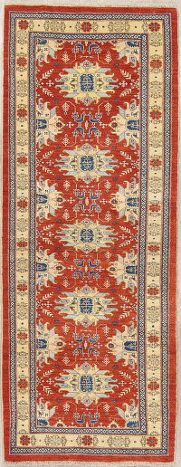 Geometric Red Ardebil Persian Hand-Knotted Runner Rug Wool 3x7