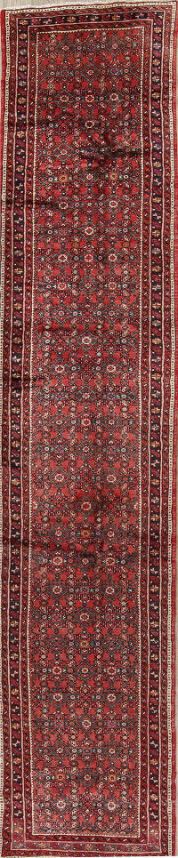 All-Over Floral Hamedan Persian Hand-Knotted Runner Rug 3x14