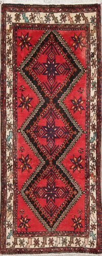 Geometric Red Hamedan Persian Hand-Knotted Runner Rug 3x7