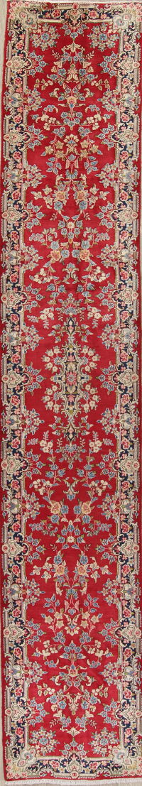Floral Red Kerman Persian Long Runner Rug Wool 3x16