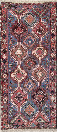 Geometric Tribal Yalameh Persian Hand-Knotted Runner Rug Wool 3x6