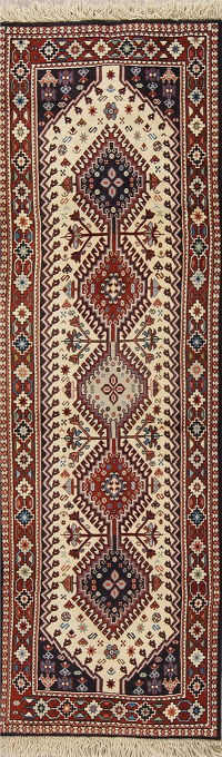 Geometric Tribal Ivory Yalameh Persian Runner Rug Wool 2x7