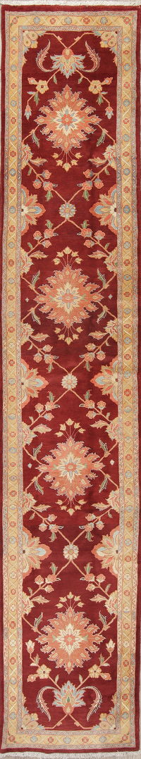 Floral Red Sultanabad Persian Hand-Knotted Runner Rug Wool 3x13